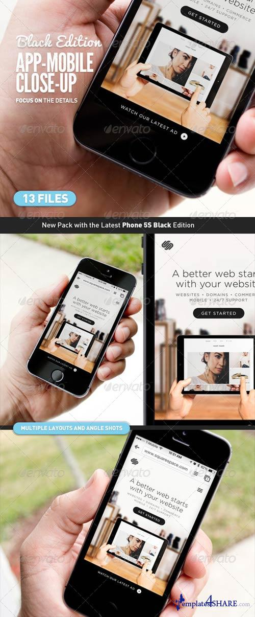 GraphicRiver App UI Close-Up Mock-Up 5s Black