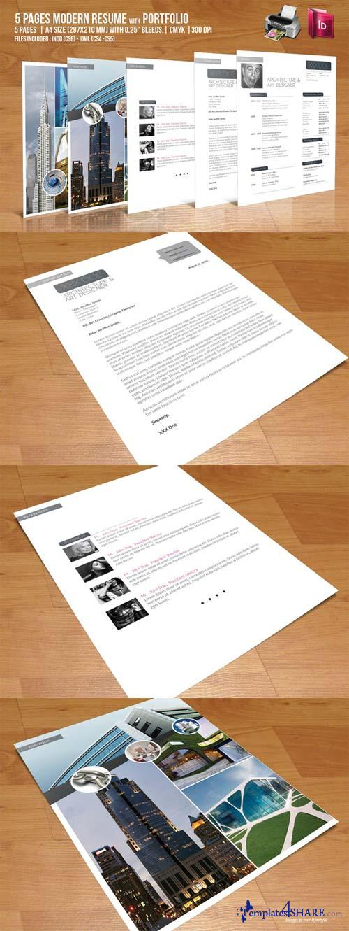 CreativeMarket 5 Pages Modern Resume with Portfolio