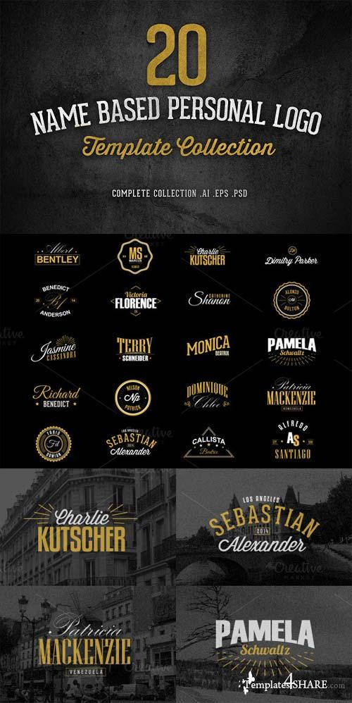 CreativeMarket 20 Name Based Personal Logo Template