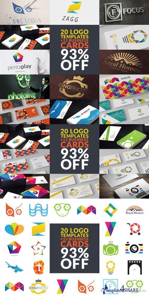 CreativeMarket 20 Logo Templates + 13 Biz Cards