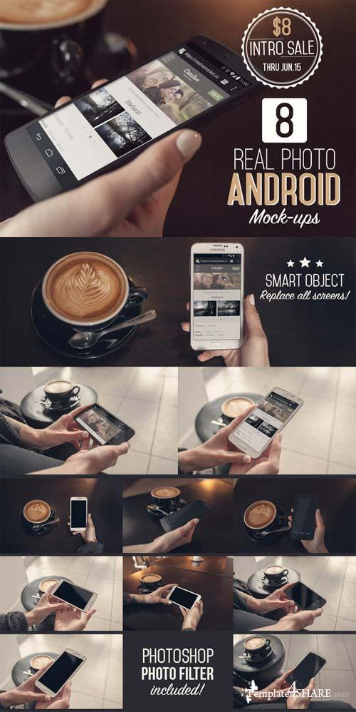 CreativeMarket 8 Real Photo Android Mock-ups