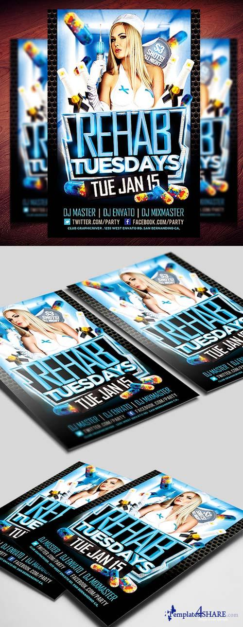 CreativeMarket Rehab Tuesdays Flyer Template