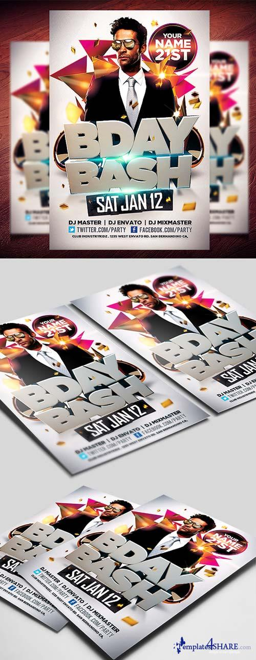 CreativeMarket Bday Bash Flyer Template