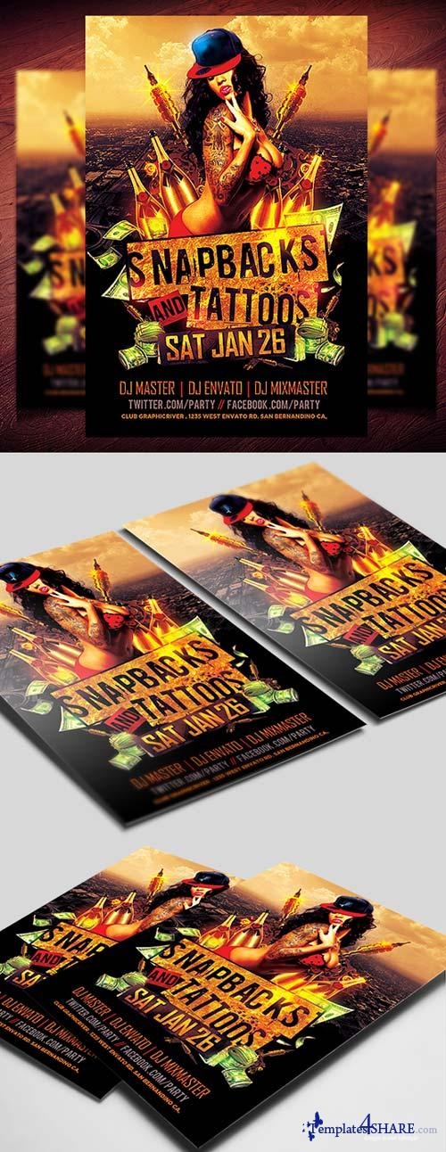 CreativeMarket Snapbacks and Tattoos Flyer Template