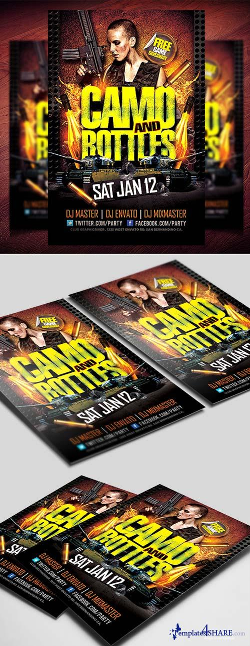 CreativeMarket Camo and Bottles Flyer Template