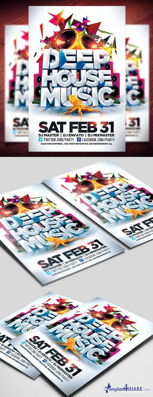 CreativeMarket Deep House Music Flyer Template