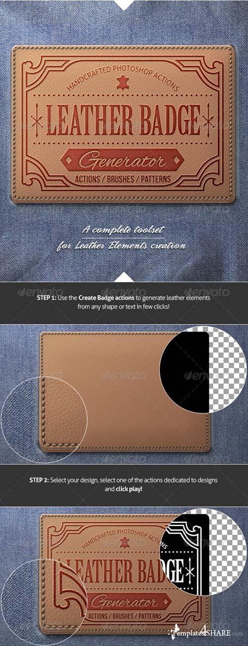 GraphicRiver Leather Badge Generator - Photoshop Actions