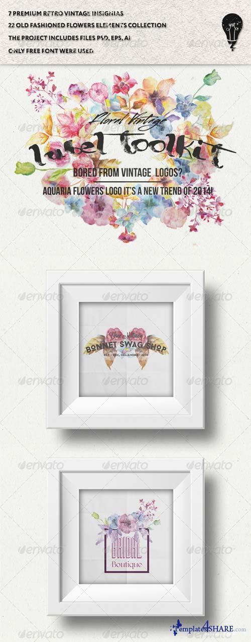 GraphicRiver Trendy Vintage Floral Labels Toolkit