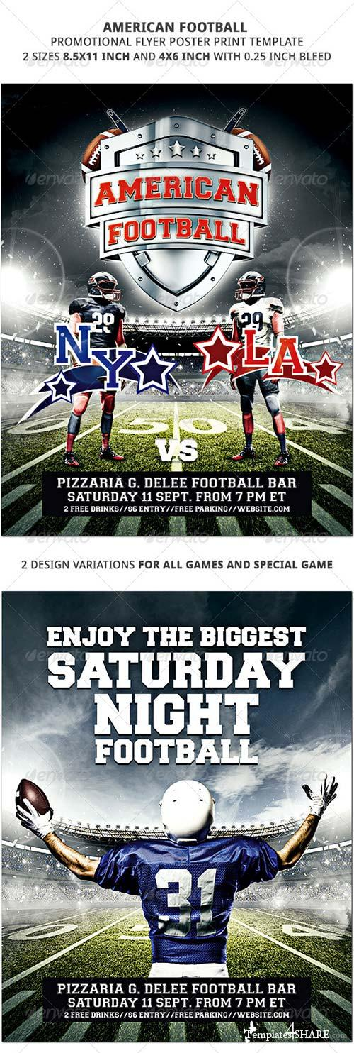 GraphicRiver American Football Promotional Flyer Poster 2 Sizes