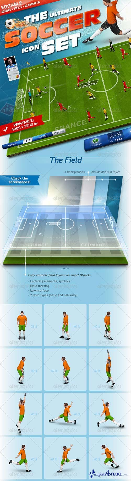GraphicRiver The Soccer Set - Kicker Icons, Field and Elements