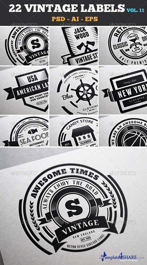 GraphicRiver 22 Vintage Labels & Badges / Logos / Insignias V11