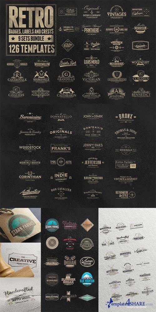 CreativeMarket 126 Retro Badges, Labels & Crests