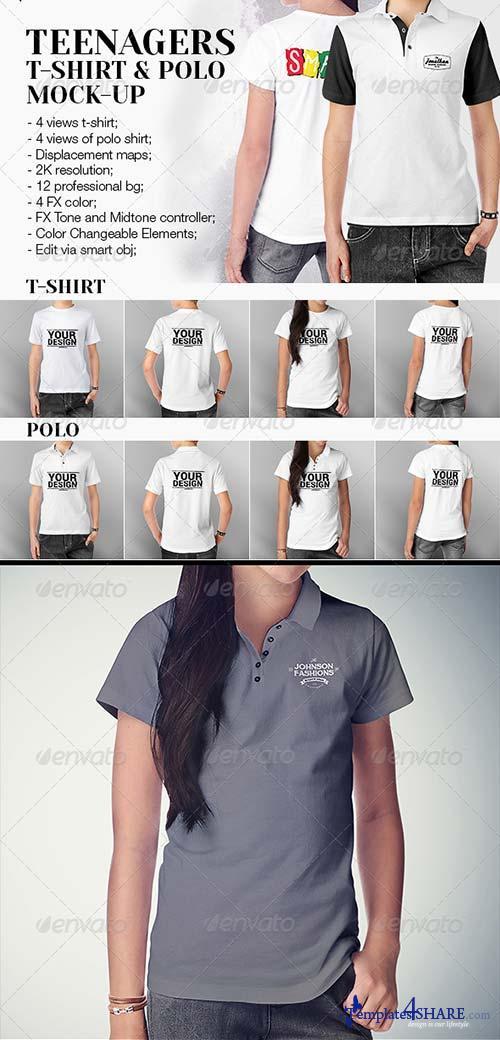 GraphicRiver Teenagers T-Shirt and Polo Shirt Mock-up