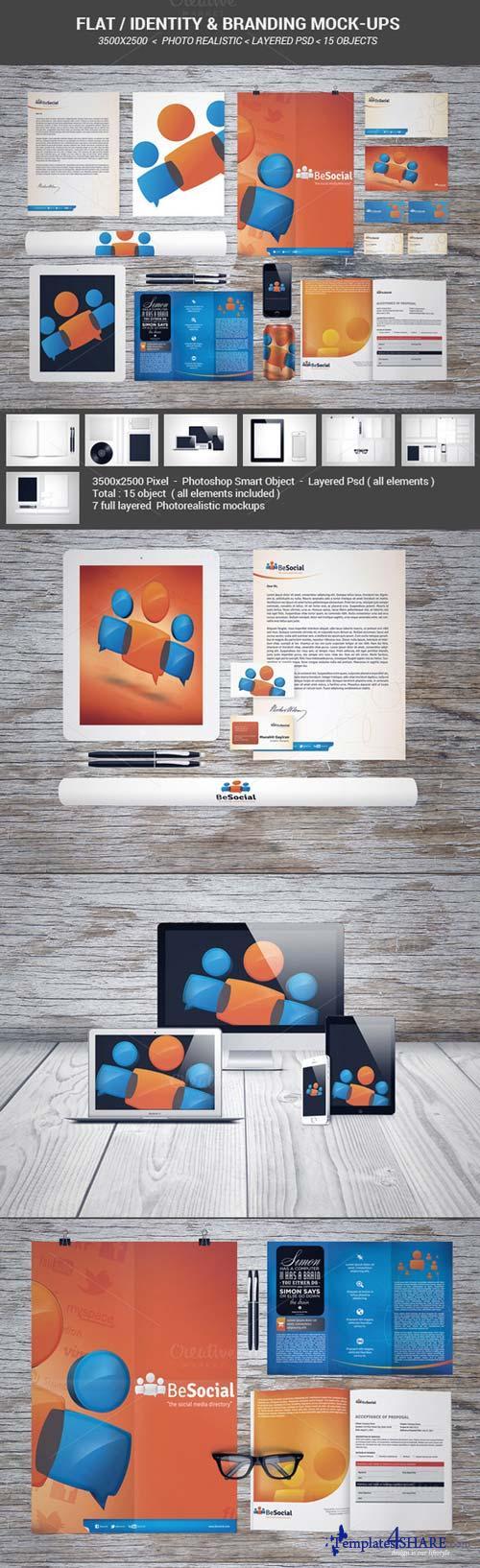 CreativeMarket Flat identity & Branding mock-ups
