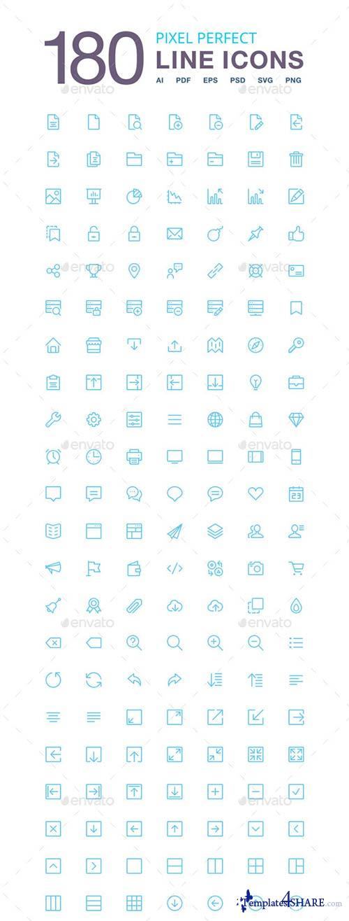 GraphicRiver 180 Vector Line Icons Pack