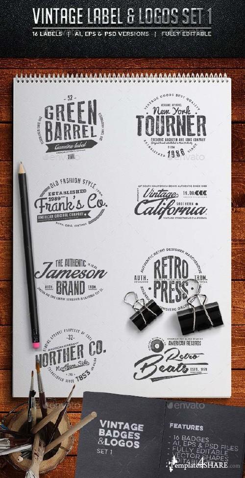 GraphicRiver Vintage Badges & Labels Set 1