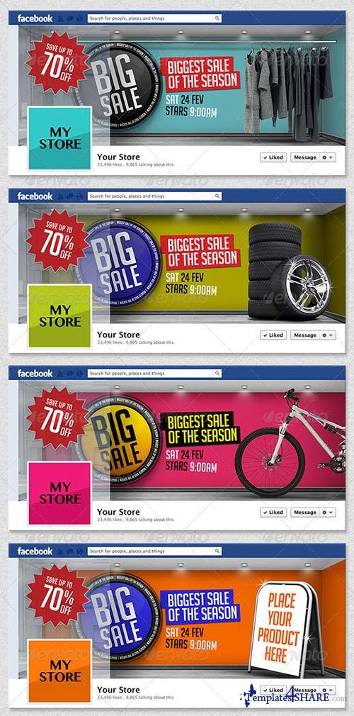 GraphicRiver 4 3D Sales Templates for Facebook Timeline