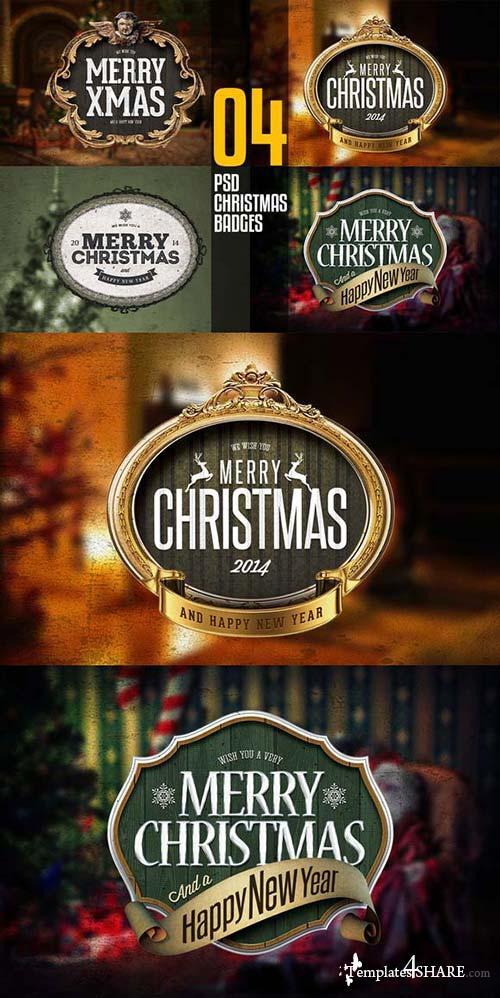 CreativeMarket 4 PSD Christmas Badges