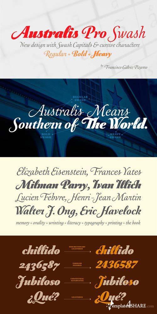 Australis Pro Swash Font Family