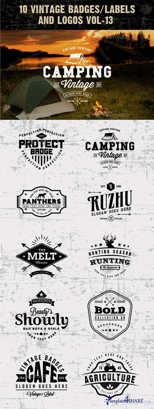 GraphicRiver 10 Vintage Badges/labels and Logos Vol-13