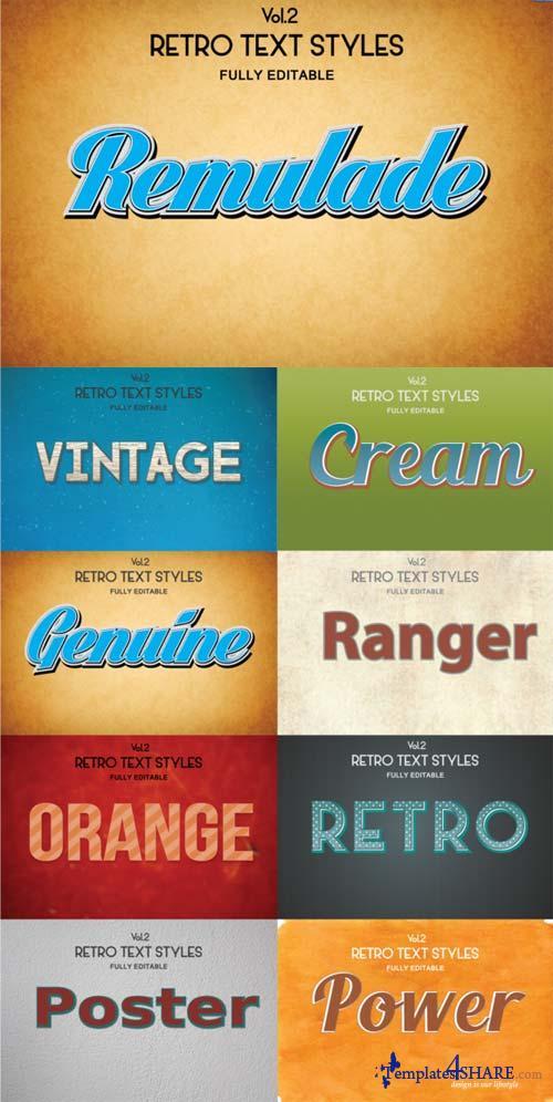 CreativeMarket Vintage Retro Text Styles .Ai Vol2