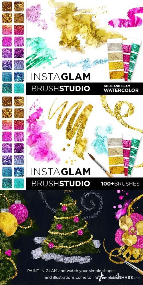 CreativeMarket InstaGlam Brush Studio: Gold + Glam