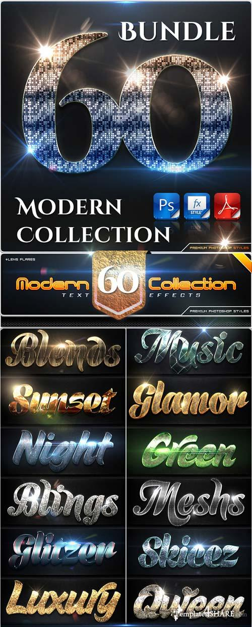 GraphicRiver 60 Modern Collection Text Effect Styles Bundle