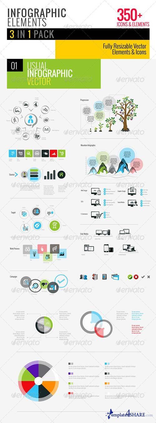 GraphicRiver Clean Infographics Pack 3 in 1