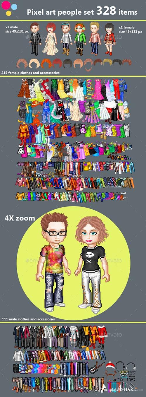 GraphicRiver Pixel art couple character creation set