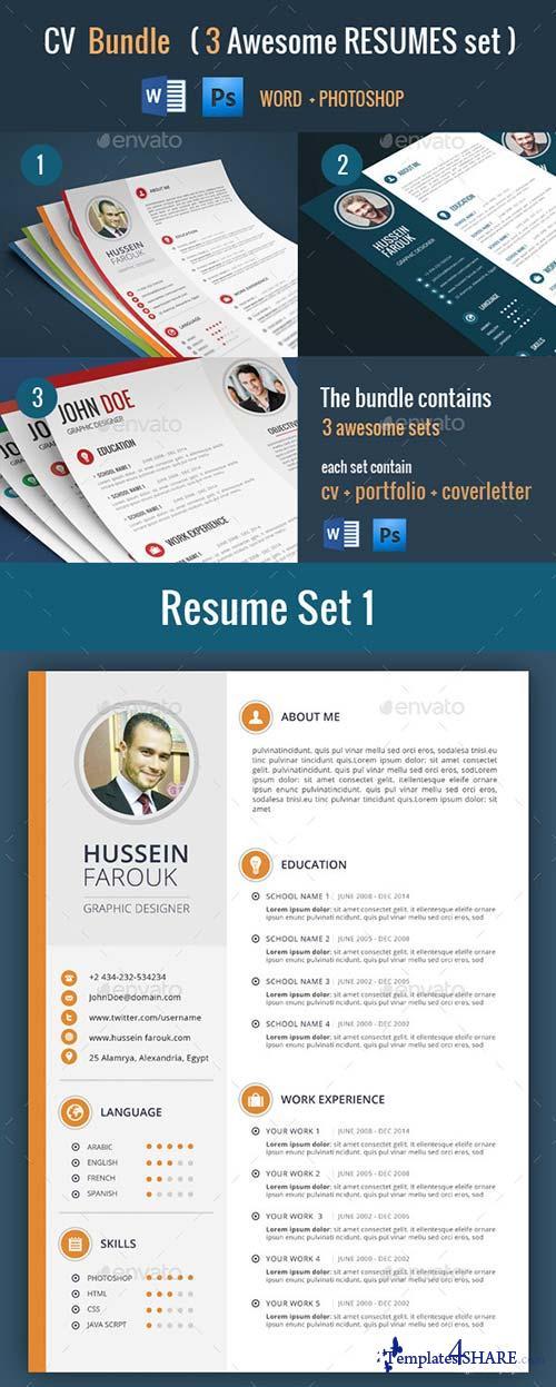 graphicriver cv bundle 3 resume sets 187 templates4share