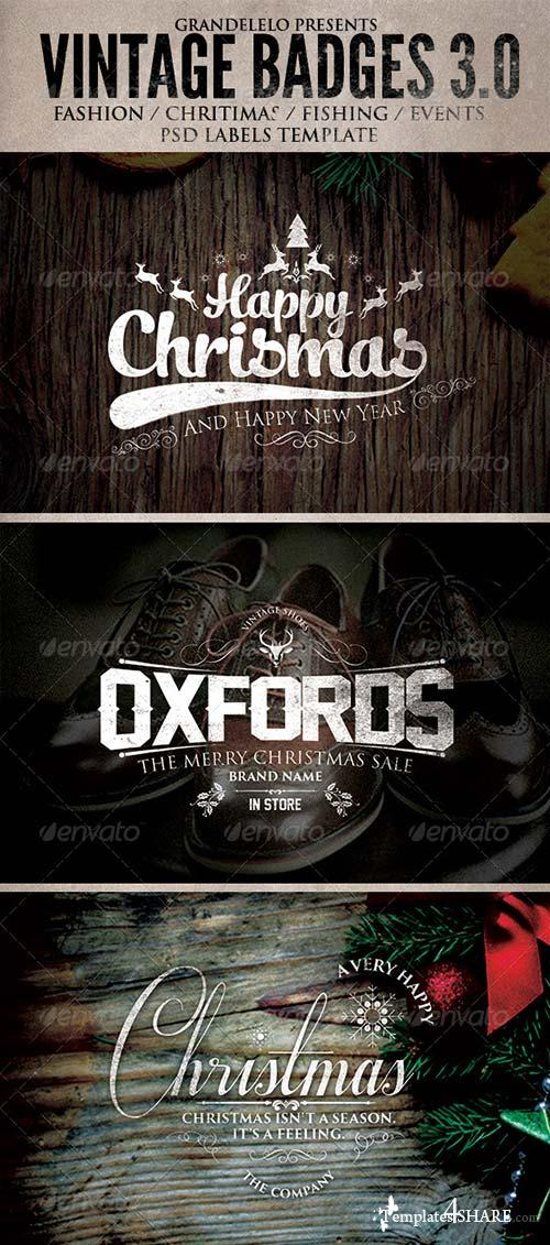 GraphicRiver Christmas and Other Vintage Badges