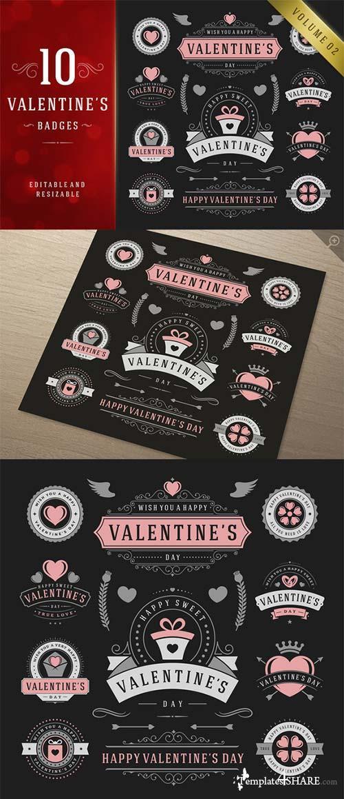 CreativeMarket Valentine's Day Logo Badges & Labels