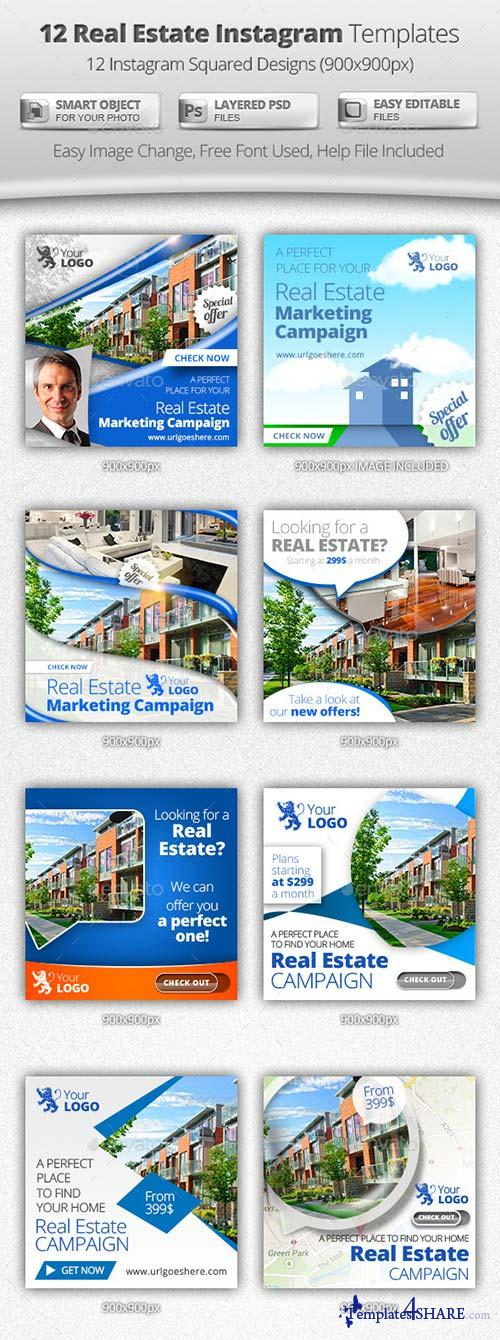 GraphicRiver 12 Real Estate Instagram Templates