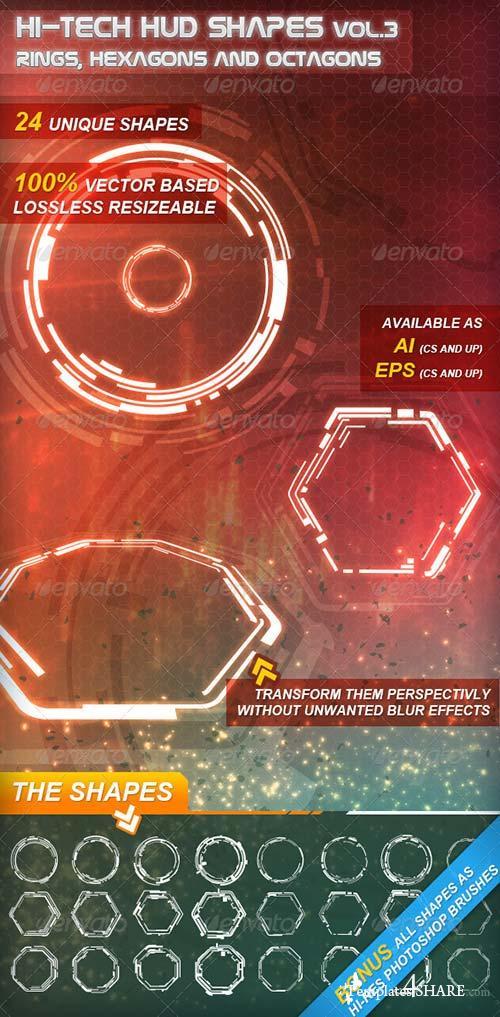 GraphicRiver Hi-Tech HUD Shapes Vol.3