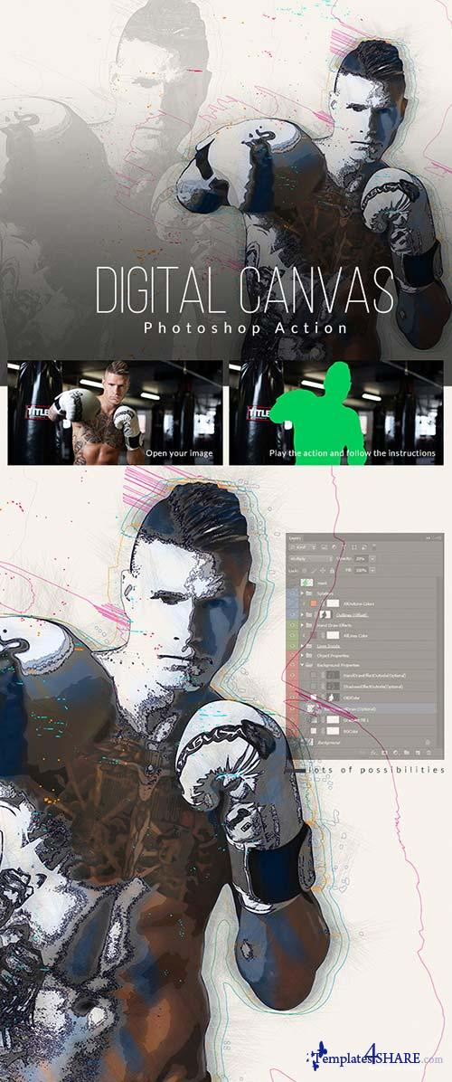 GraphicRiver Digital Canvas Photoshop Action
