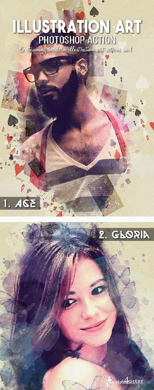 GraphicRiver 5-in-1 Illustration Art Photoshop Action