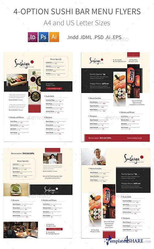 GraphicRiver Sushi Bar Menu Flyers - 4 Options
