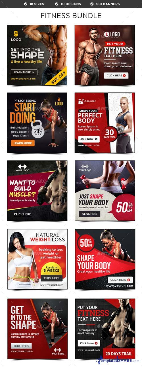 GraphicRiver Fitness Banners Bundle - 10 Sets - 180 Banners
