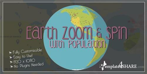 Earth Zoom and Spin with Population Template - After Effects Project (Videohive)