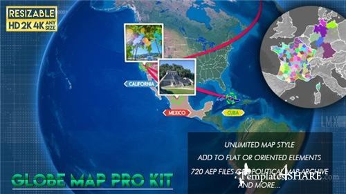 Globe Map Pro Kit - After Effects Project (Videohive)