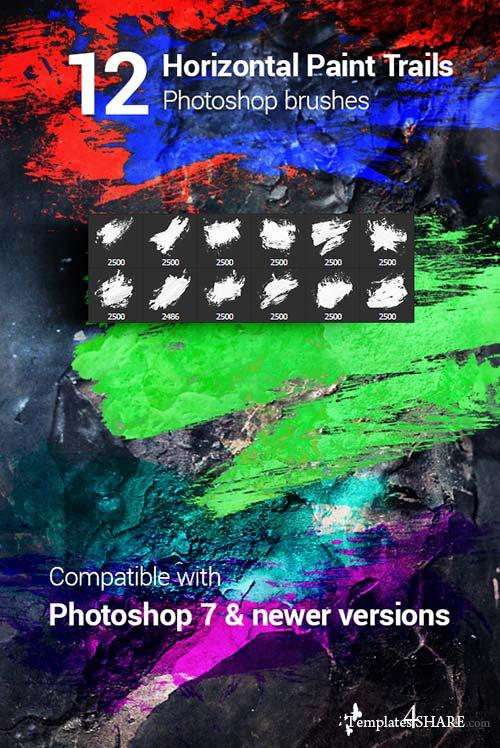 GraphicRiver 12 Watercolor Paint Splatters Photoshop Brushes