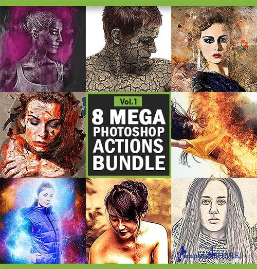 GraphicRiver 8 Mega Photoshop Actions Bundle - Vol.1