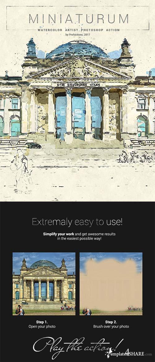 GraphicRiver Miniaturum - Watercolor Sketch Photoshop Action