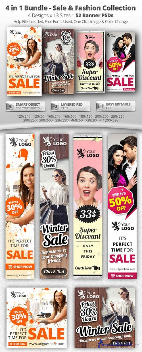 GraphicRiver 52 Sale & Fashion Web Banners - 4 in 1 Bundle