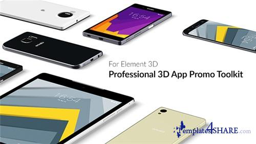 Professional 3D App Promo Toolkit for Element 3D - After Effects Project (Videohive)