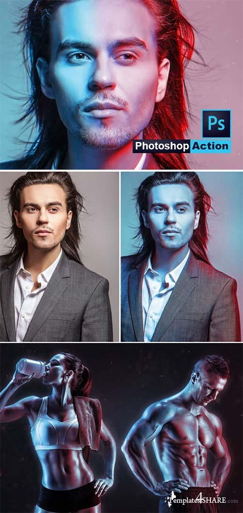 GraphicRiver Dual Light Color Photoshop Action