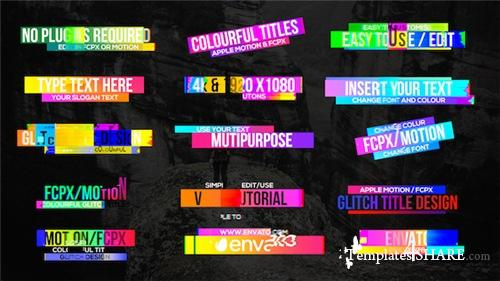 Colourful Glitch Titles 2 - Apple Motion Template (Videohive)