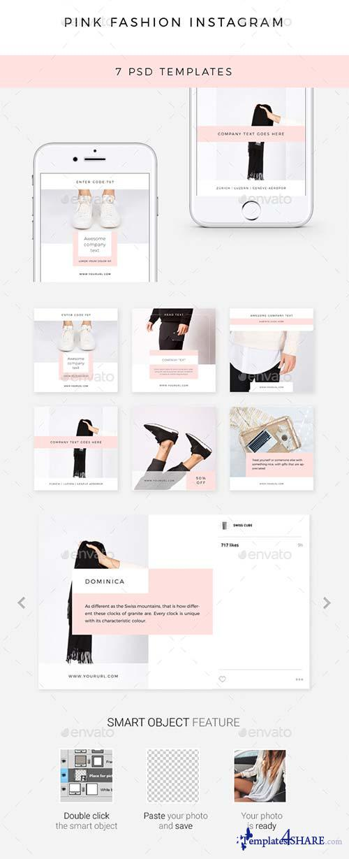 GraphicRiver Pink Fashion Instagram - 7 Deisgns