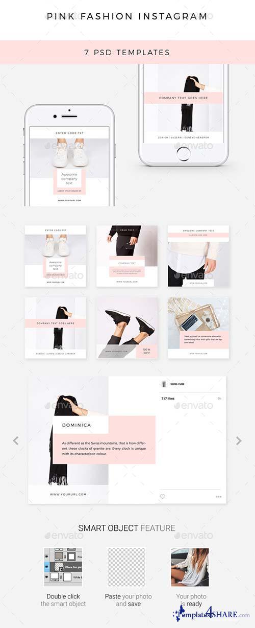 GraphicRiver Pink Fashion Instagram - 7 Deisgns