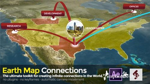 Earth Map Connections - After Effects Project (Videohive)